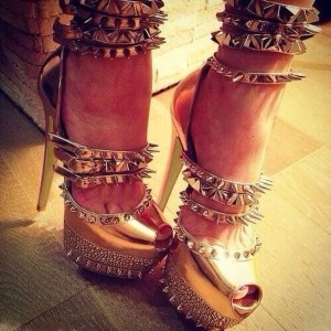 Golden Ankle Strap Sandals Stiletto Heels Stripper Shoes With Rivets