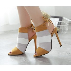 Women's Brown Peep Toe Stiletto Heel Pumps Slingback Heels Shoes