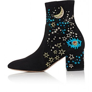 Women's Black Pointed Toe  Night Sky Pattern Ankle Boots