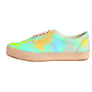 Women's Bright Colors Lace Up Sneakers Comfortable Flats