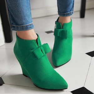 Women's Green Bow Ankle Boots Pointed Toe Wedge Shoes