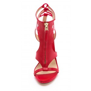 Women's Coral Red Dress Shoes Ankle Strap Caged Stiletto Heels Sandals