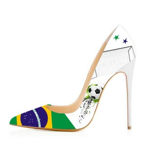 Brazil Design Stiletto Heels Pumps for Football Lover