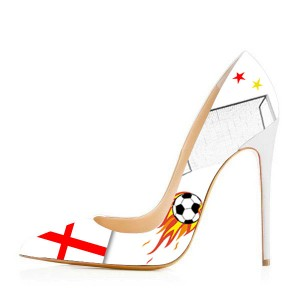 England Printed Pointy Toe Stiletto Heels Pumps for Football Lover