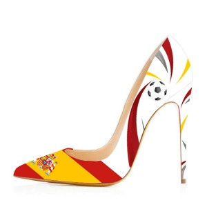 2019 Football Lover Spain Design Pointy Toe Stiletto Heels Pumps