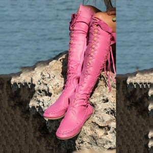 Pink Gladiator Boots Comfortable Strappy Knee-high Boots