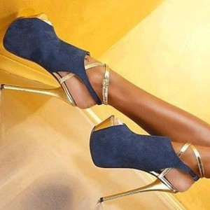 Women's Esther Blue Stiletto Heels Slingback Platform Heels Stripper Shoes
