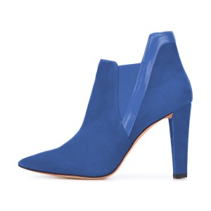 Women's Blue Commuting Suede Peep Toe Ankle Chunky Heel Boots
