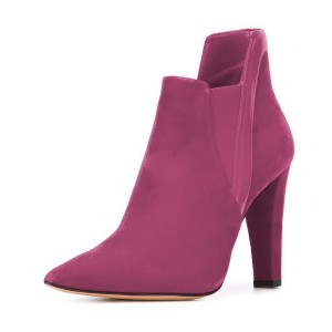 Women's Plum Commuting Suede Pointed Toe Chunky Heel Boots