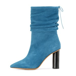 Blue Slouch Boots Suede Block Heel Mid-calf Boots