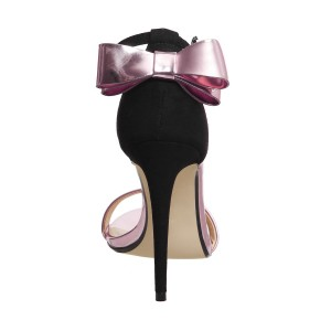 FSJ Metallic Rose Gold Shoes Ankle Strap Bow Stiletto Heel Sandals