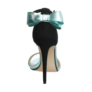 Women's Cyan Bow 4 Inches Stiletto Heel Ankle Strap Sandals
