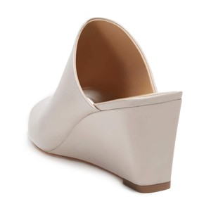 Ivory Heels Peep Toe 3 Inch Wedge Sandals by FSJ