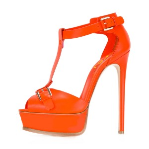 Orange T-strap Stiletto Heel Platform Sandals Stripper Heels