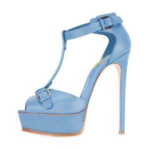 Blue T Strap Sandals Peep Toe Platform Stiletto Heels