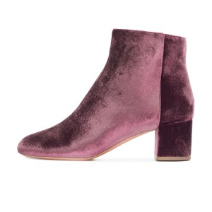 Plum Velvet Short Boots Round Toe Chunky Heel Fashion Ankle Boots