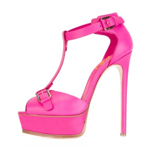 Hot Pink T Strap Sandals Peep Toe Platform Stiletto Heels
