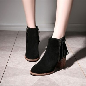 Black Vintage Boots Round Toe Suede Fringe Chunky Heels