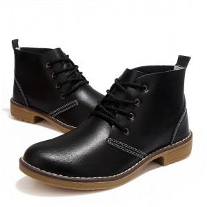 Women's Black Round Toe Lace- Up Oxfords Vintage Shoes