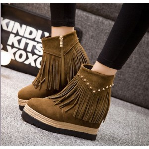 Women's Brown Round Toe Tassels Vintage Wedge Heels Ankle Boots