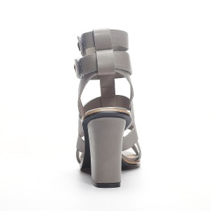 Women's Grey Chunky Heel Gladiator Sandals