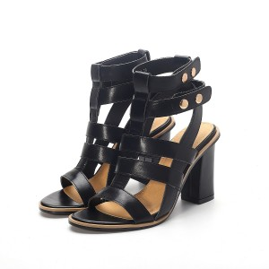 Women's Black Chunky Heel Gladiator Heels Sandals