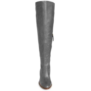Grey Knee Boots Round Toe Chunky Heel Boots by FSJ