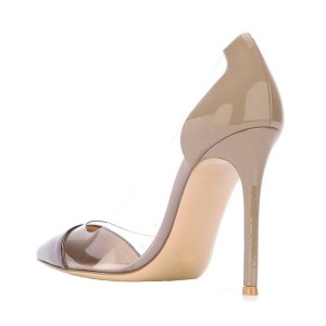 Women's Nude Leather Pointed Toe Stiletto Heel Clear Pumps