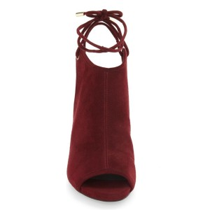 Burgundy Slingback Shoes Peep Toe Chunky Heel Suede Shoes
