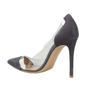 Women's Grey Leather Pointed Toe Stiletto Heel Clear Pumps