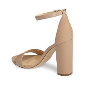 Women's Nude Open Toe Chunky Heel Ankle Strap Sandals