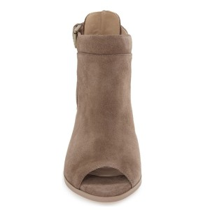 Light Brown Chunky Heel Boots Peep Toe Suede Ankle Boots