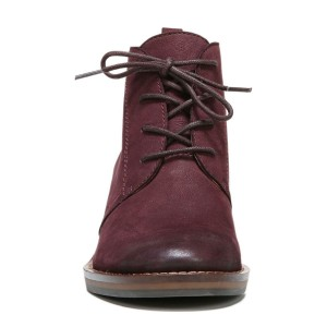 Maroon Short Boots Round Toe Lace up Block Heel Vintage Ankle Boots