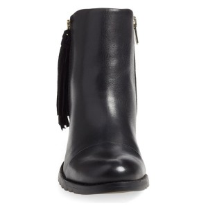 Women's Black Tassels Side Zipper Work Ankle Vintage Boots