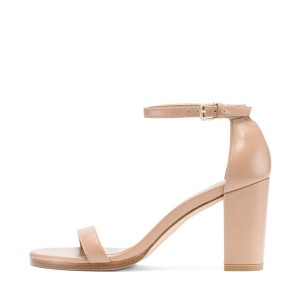 FSJ Nude Ankle Strap Sandals Open Toe Chunky Heel Office Sandals