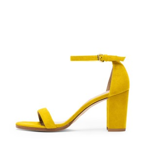 FSJ Yellow Suede Ankle Strap Sandals Open Toe Chunky Heels