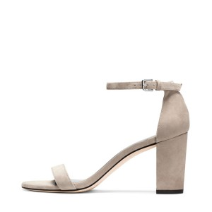 Grey Ankle Strap Sandals Suede Open Toe Block Heels