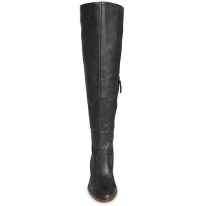 FSJ Black Tall Boots Round Toe Block Heel Knee Boots