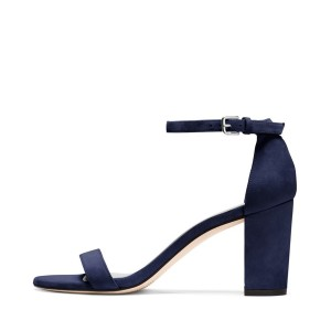 Navy Ankle Strap Sandals Block Heels Open Toe Suede Sandals