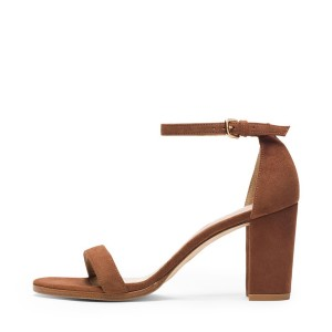 Women's Brown Ankle Strap Open Toe Chunky Heel Sandals