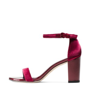 Burgundy Velvet Heels Open Toe Ankle Strap Block Heel Sandals by FSJ