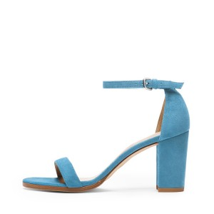 Blue Ankle Strap Sandals Suede Open Toe Block Heels for Ladies