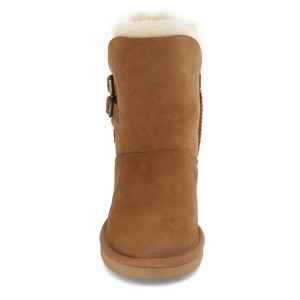 Camel Comfortable Fur Boots Round Toe Snow Boots for Winter