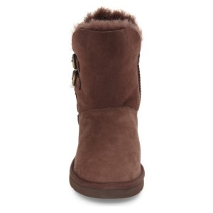 Women's Brown Snow Buckle Comfortable Flats Boots