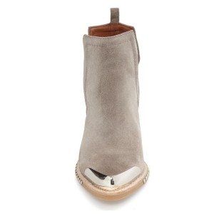 Grey Casual Boots Chunky Heel Suede Shoes with Silver Studs