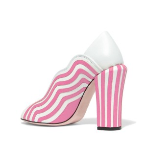 Women's Pink&White Stripes Chunky Heel Pumps