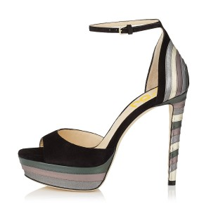 Women's Black Colorful Stiletto Heels Ankle Strap Sandals