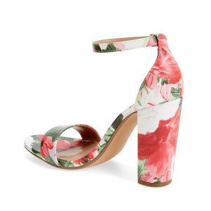Women's Flower Open Toe Chunky Heel Floral Heels Ankle Strap Sandals