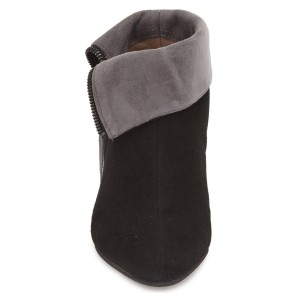 Black and Taupe Short Boots Low Heel Suede Fold-Over Boots
