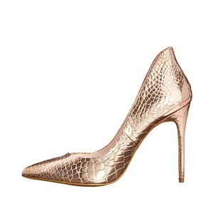 Champagne 3 Inch Heels Pointy Toe Stiletto Heels Pumps by FSJ